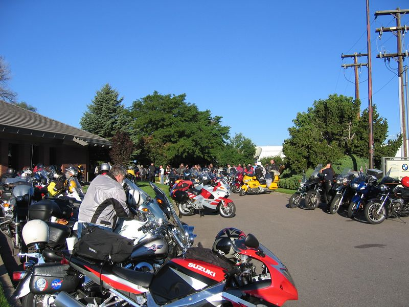 Some of the 300 plus bikes parked at Foothills BMW.  All makes were welcome.