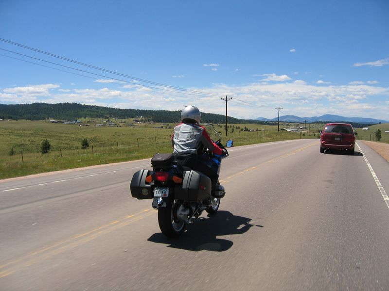 Dealing with traffic on Highway 24 west of Woodland Park.  After lunch, I met up with another friend, also named Dave, with whom I have ridden with before.  He decided to join Liz and I for the remainder of the ride.