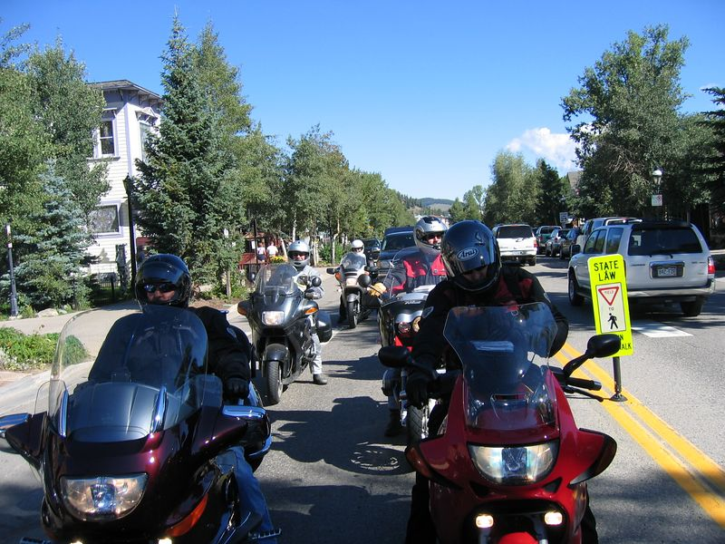 Some of the riders waiting behind us for the light to turn.  There were many bikes, travelling in packs of four or five.