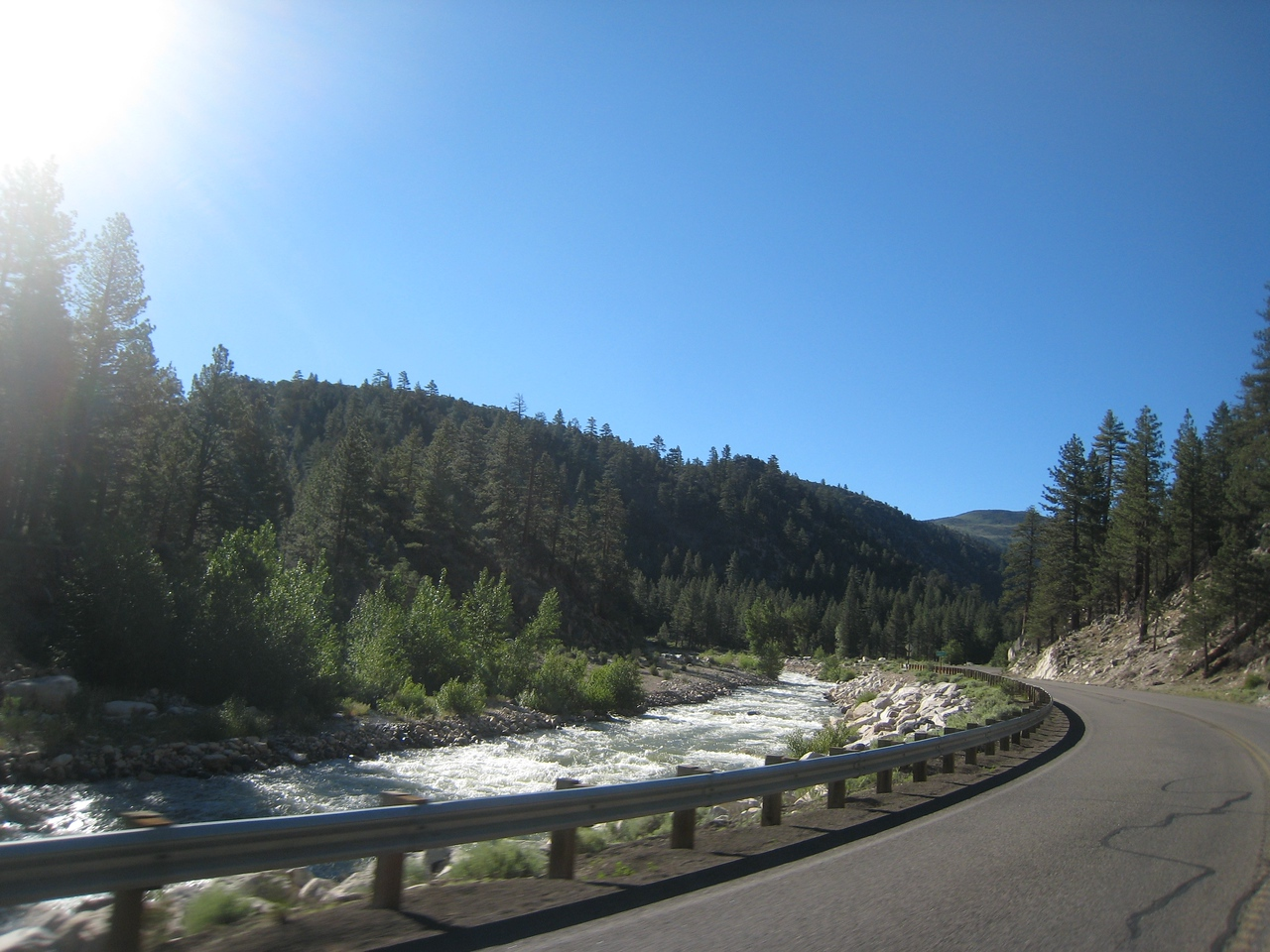 First leg of the trip takes me south on Highway 395 through Walker Canyon.  The river is full of spring run-off.