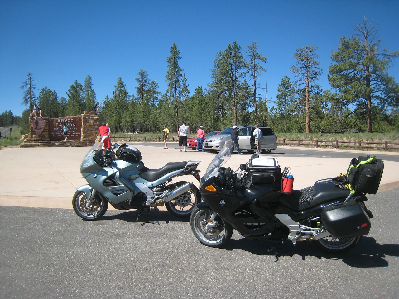 But sometimes you gotta stop.  Like getting a picture of your bike in front of a landmark of sorts.  Here the bikes are poised at the entrance sign for Bryce Canyon National Park.