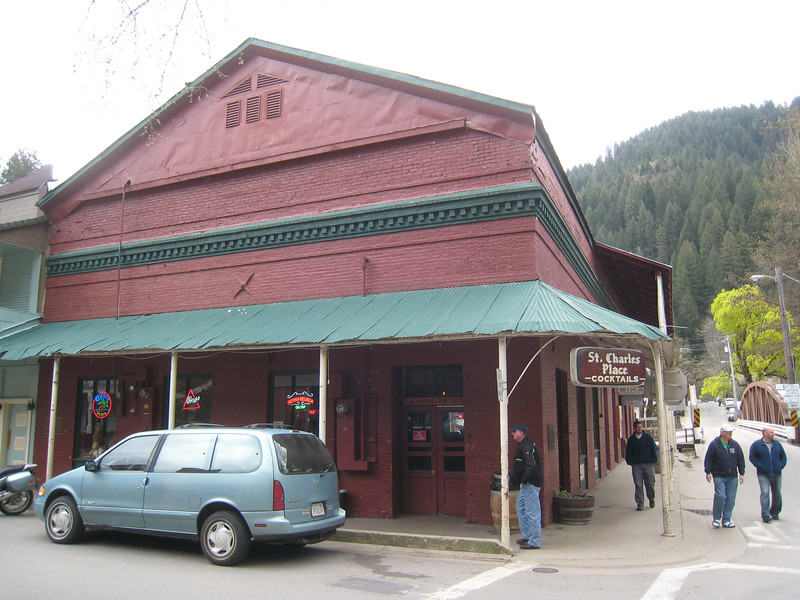 The purpose of our ride to Downieville is to drink a beer at the St. Charles Place bar.