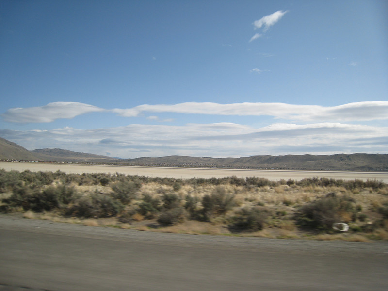 Typical of the area, dry salt lakes in the bottoms of the valleys.