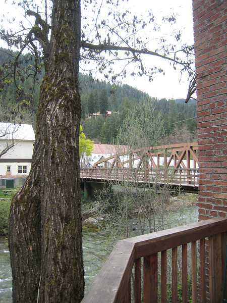 The deck is a great location, along the river.  The river is flowing fast from the spring melt.