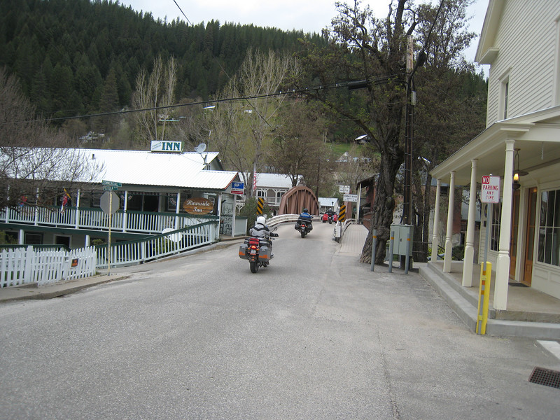 The two riders we passed on the way into Downieville return the favor as I pull over to take a picture.