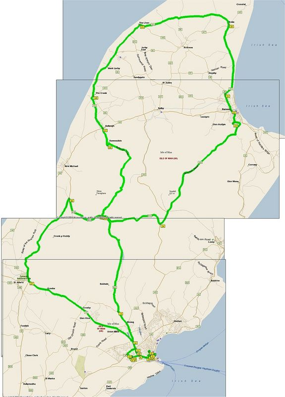 Route taken, starting and ending in Douglas