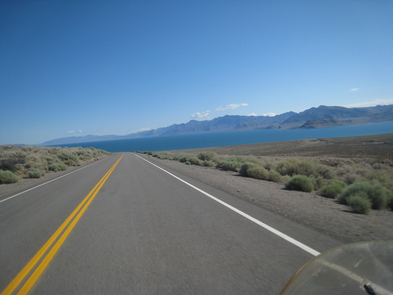 My route north takes me past Pyramid Lake, which contains the spill-over from Lake Tahoe and is also blue, but not nearly as deep or majestic.
