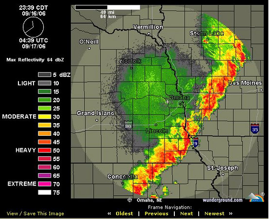 This is the storm system that was moving through Nebraska. It was packing 70 mph winds and grape size hail...