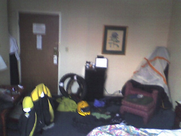 My room at the Days Inn in St. Paul MN. I had to bring everyting in and let the tent and sleeping bags dry.