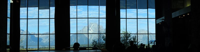 The view from the Mural Room in Jackson Lake Lodge.