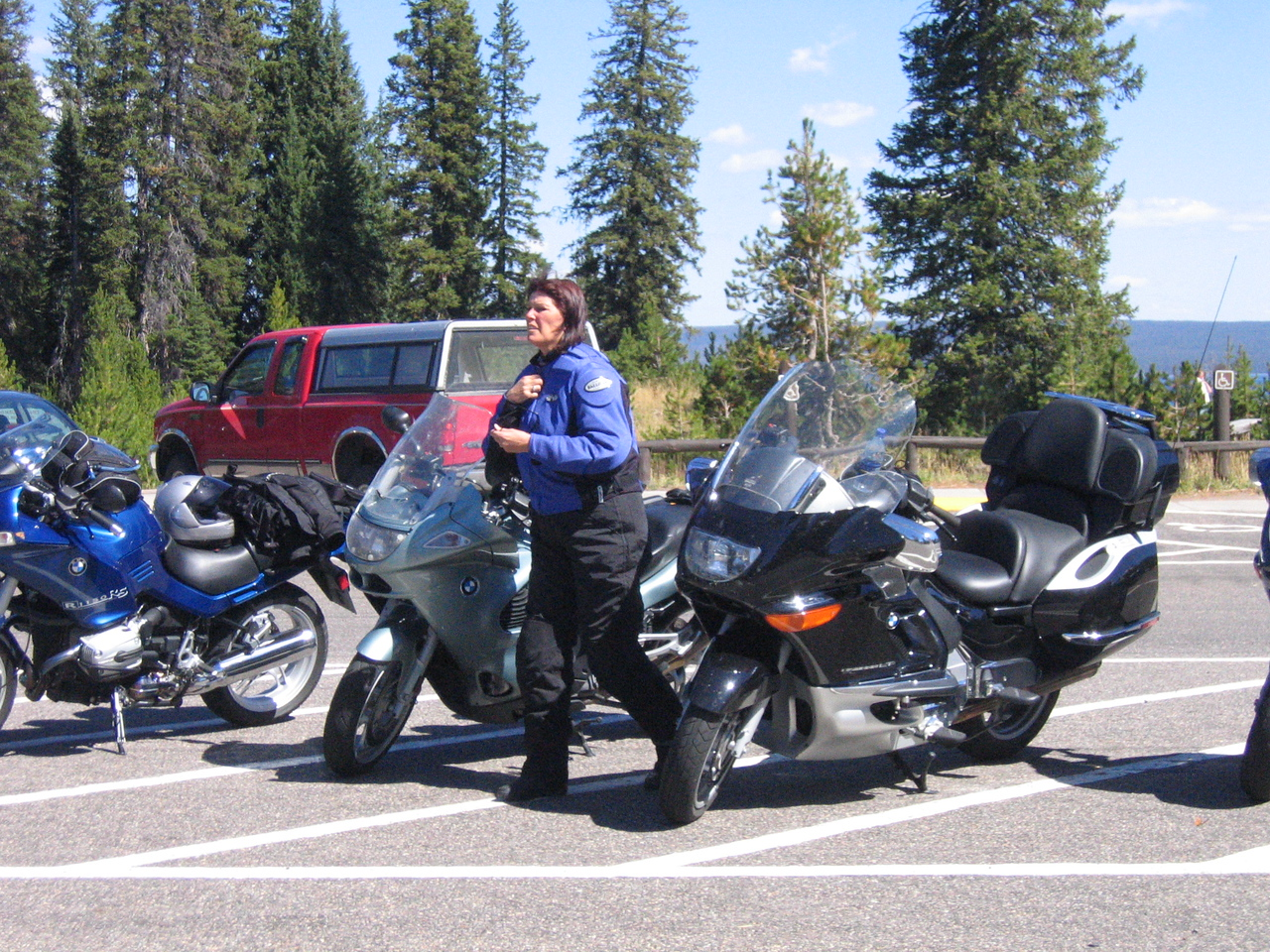 Deb Sauer takes a break from her K-1200GT.