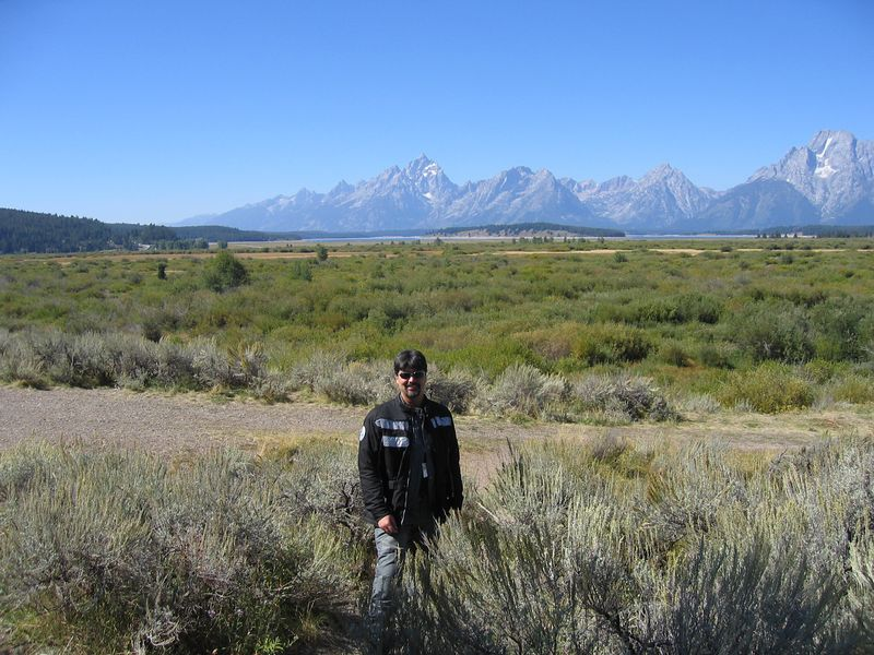 And here's the reciprocal picture of me standing in front of the mountains.