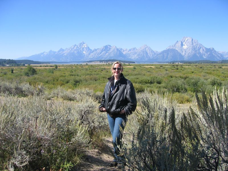 Wednesday morning was beautiful, and Maria and I decided to go for a quick ride / hike near the lodge.  Here's Maria posing in front of the Grand Tetons.