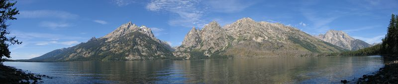 The Grand Tetons, as seen from the shore of Jenny Lake.