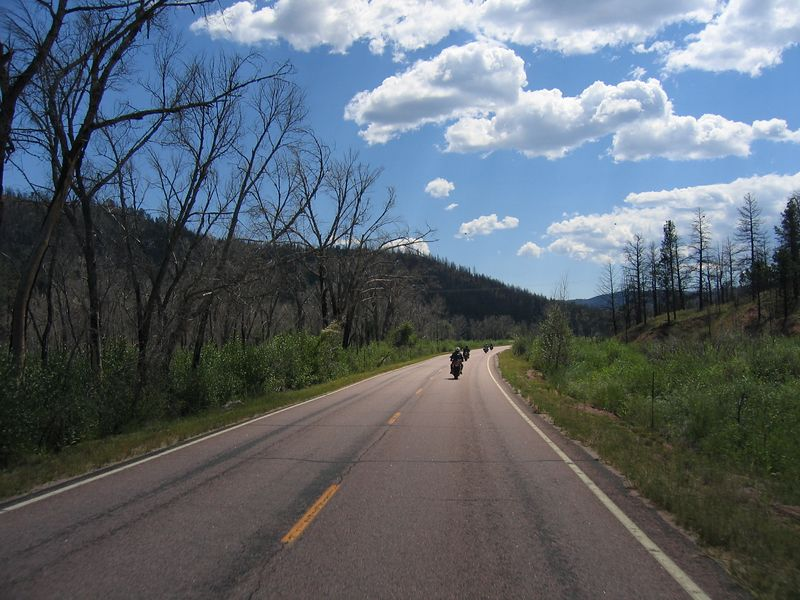 In the last miles before reaching Deckers, we encounter some gravel in the tight twisties above the junction.  This is a dangerous area, as the curves are enticing, but are all to often strewn with gravel or occupied by an RV.  I pass a couple Harley's and then quickly have to dive back into my lane to miss an oncoming fifth wheel RV, with it's left side wheels well over the yellow centerline.  <br /> <br /> It was in this area that I experienced my first front end slide.  I had only been riding a couple months, and decided to try and pick up the pace a bit.  Coming around one of the blind righ-handers, my front end started to wash-out after a brief, but intense, encounter with a small patch of gravel. My right foot instinctly came of its peg and was sliding on the ground in a foolishly vain attempt to hold the bike up if it went down.  Fortunately the front hooked up again, and I continued on my merry way, albeit with new scuffs on my boots and brown racing stripes in my tighty-whities.