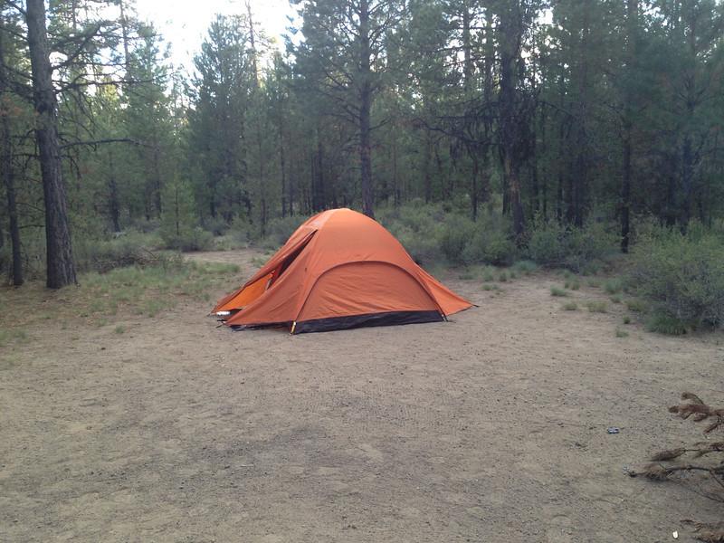 Sandy campsite, La Pine State Park, OR