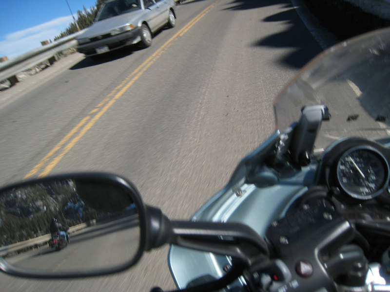 I just happen to catch another motorcyclist in my mirror as they go past.