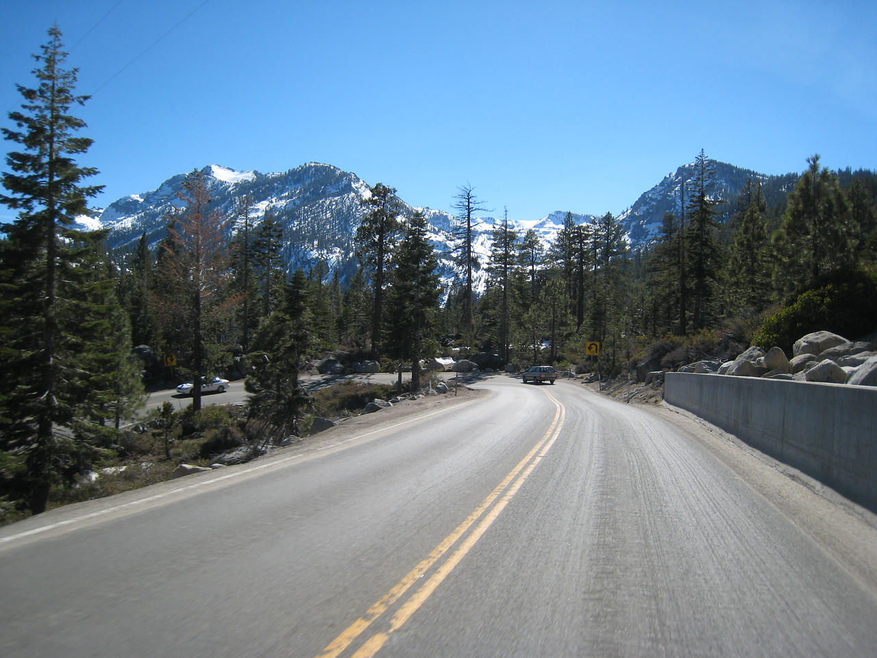 The road down from Emerald Bay to South Lake Tahoe has its share of switchbacks.  As expected, the cars take the turns at a very cautious speed.  I patiently take my time, knowing that I'll get another adrenaline fix as I return home over Spooner Pass.