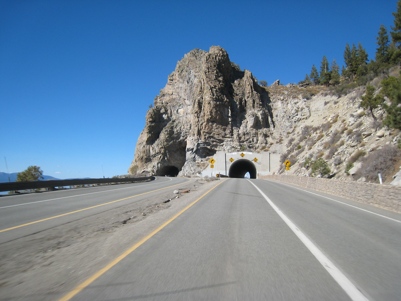 Approaching the tunnels of Cave Rock as I head back towards Highway 50 and another spirited ride home.
