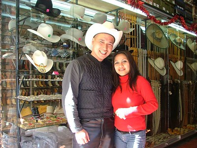 Jerez cowboy store and very freindly girls... this hat is snake skin.  Mucho denero.