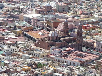 Zacatecas a top La Buffa at the Church.  Shot of the Cathedral