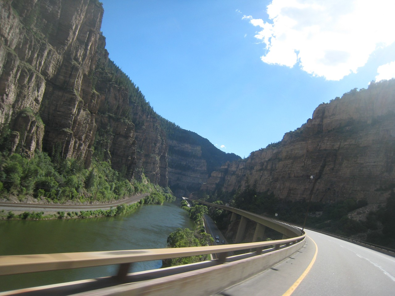 Interstate riding is usually boring, but I-70 is not your normal Interstate.  The views from Denver through Utah are nice.  Here I'm riding through Glenwood Canyon.  Word has it that the Colorado Highway Patrol use cameras and VASCAR to punch out tickets.