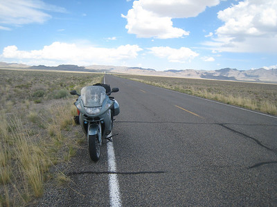 "It's a bit desolate on Highway 50, aka ""The loneliest road in America.""  I look back the way I came ... nothing."