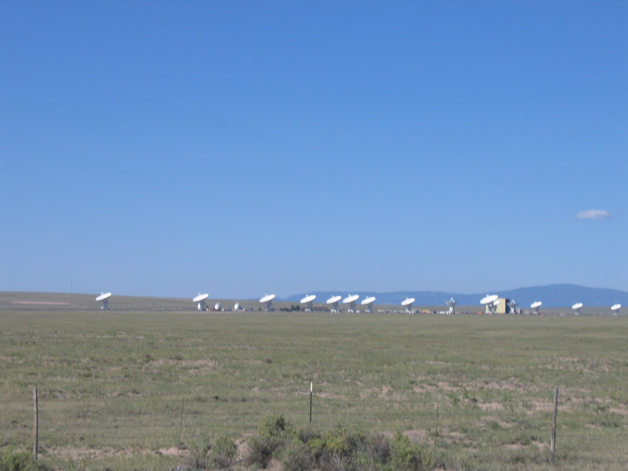 (Click on image to enlarge)<br /> <br /> The Very Large Array (VLA) is a radio-telescope system.  You've probably seen this on TV or in a movie or two.  It is a huge radio telescope that is comprised of a series of smaller antennas that work together to function as a single huge antenna.