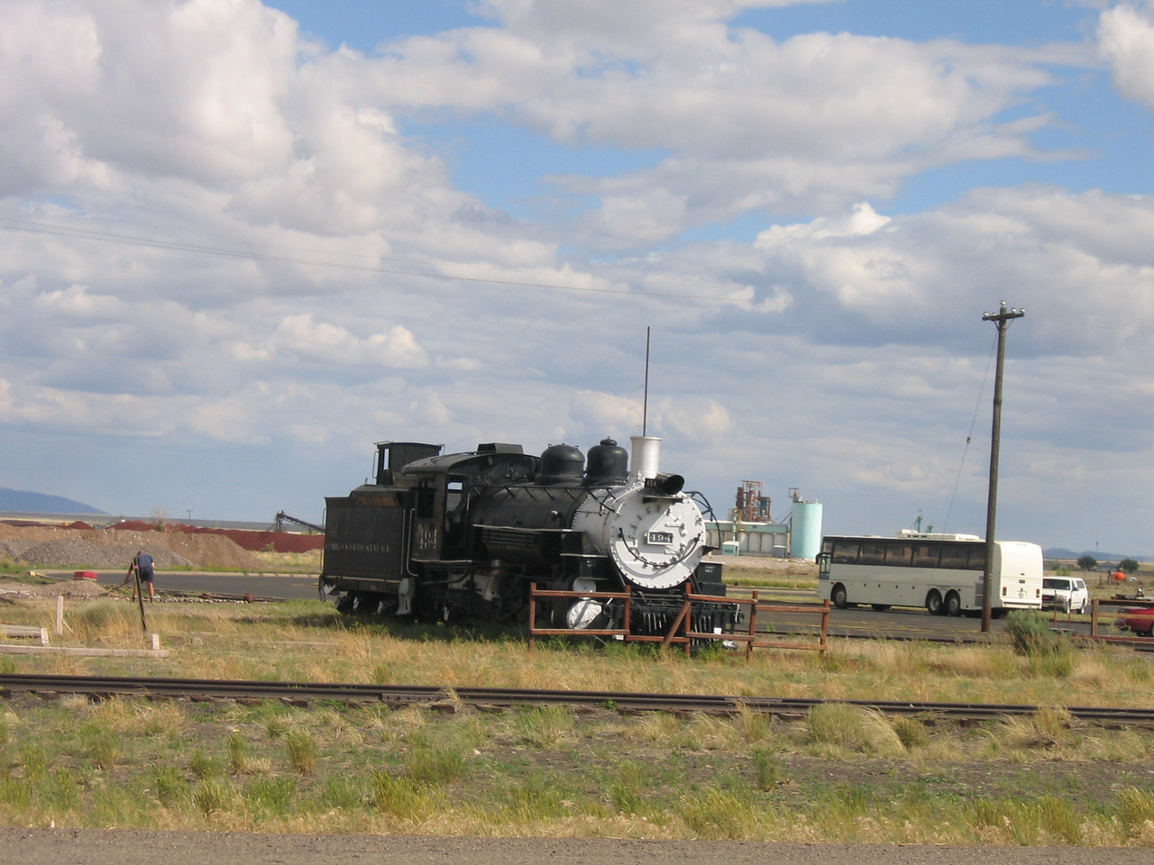 (Click on image to enlarge)<br /> <br /> Cumbres is one terminus of the Cumbres and Toltec narrow gauge railroad.  Here's one of the engines on display.