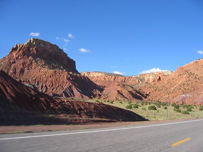 (Click on image to enlarge)  The red rocks are an interesting contrast to the blue of the sky.