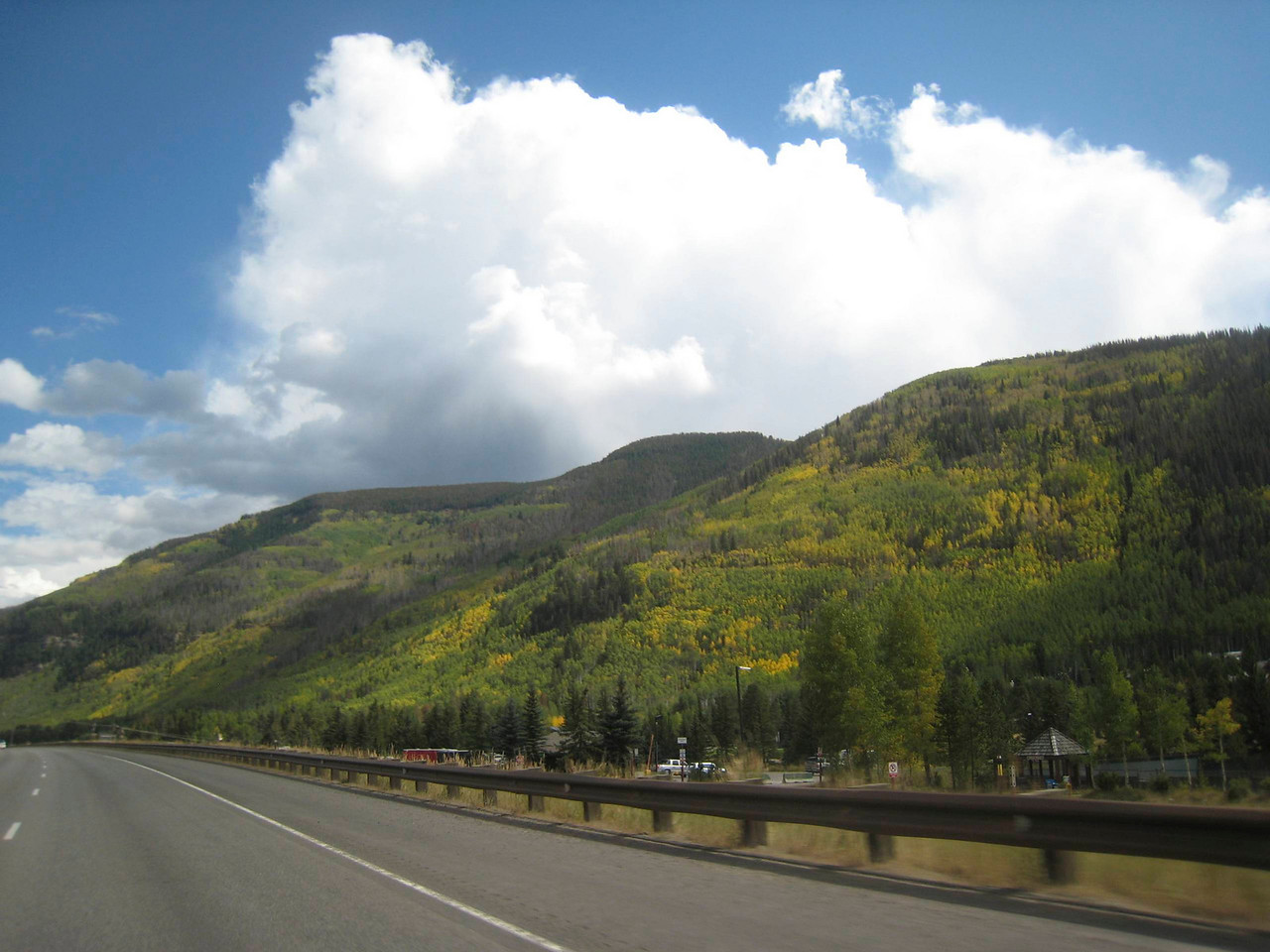 Returning home from Vail along I-70, we can see the leaves starting to turn.  Another week or two and it will be prime color in the Rockies.