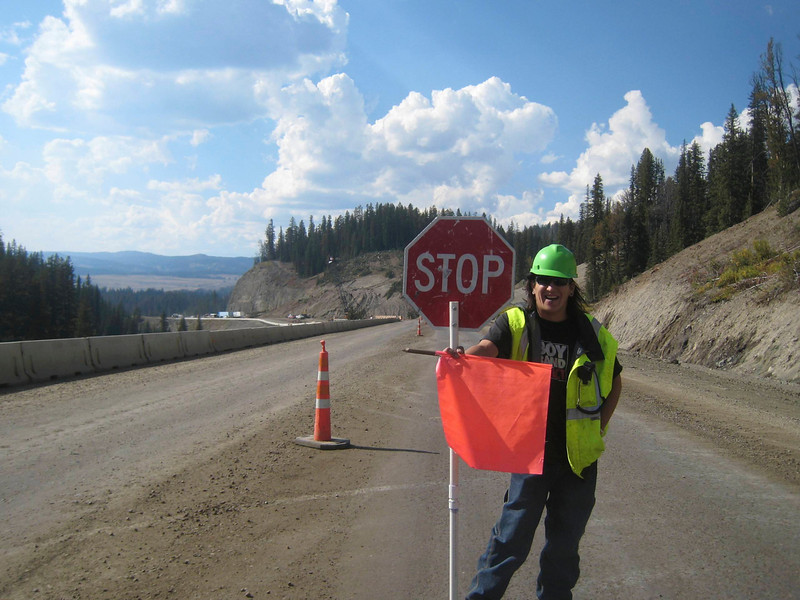 As I roll along, signs warn of construction ahead.  This will become a theme of this trip.<br /> <br /> The flagger waves me to the front of the queue.  Awesome!  That means good things once we get to the end of the construction :D