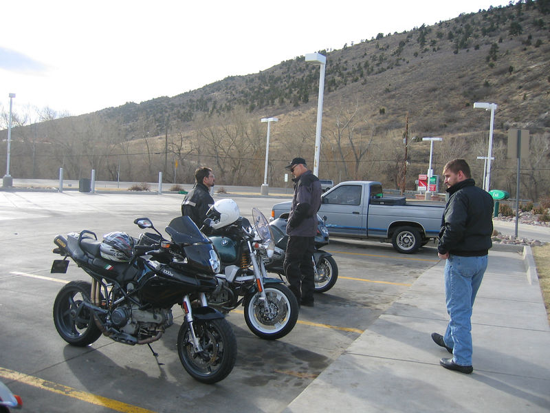 MBohn, Sfarson, and Justin wait for the rest of the group to gather at the Conoco in Morrison.<br /> <br /> Before we leave, we have eight riders in the group:  Sfarson, Mbohn, Blakebird, Brewster, Peakrunner, Chorning, Justin, and rhhall.