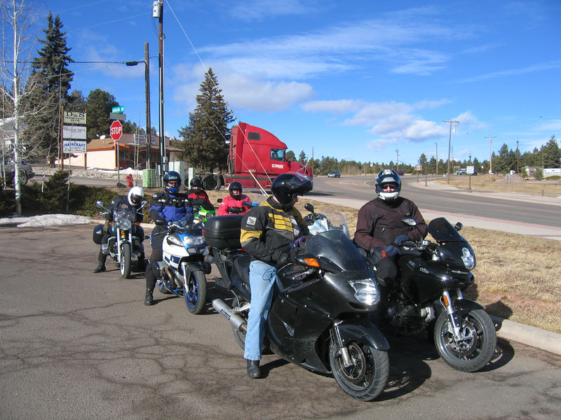 Another traditional stop on the run to Woodland Park is the Farm Crest Dairy and gas station.  Steve fills up his R1100S while the rest of the group waits.