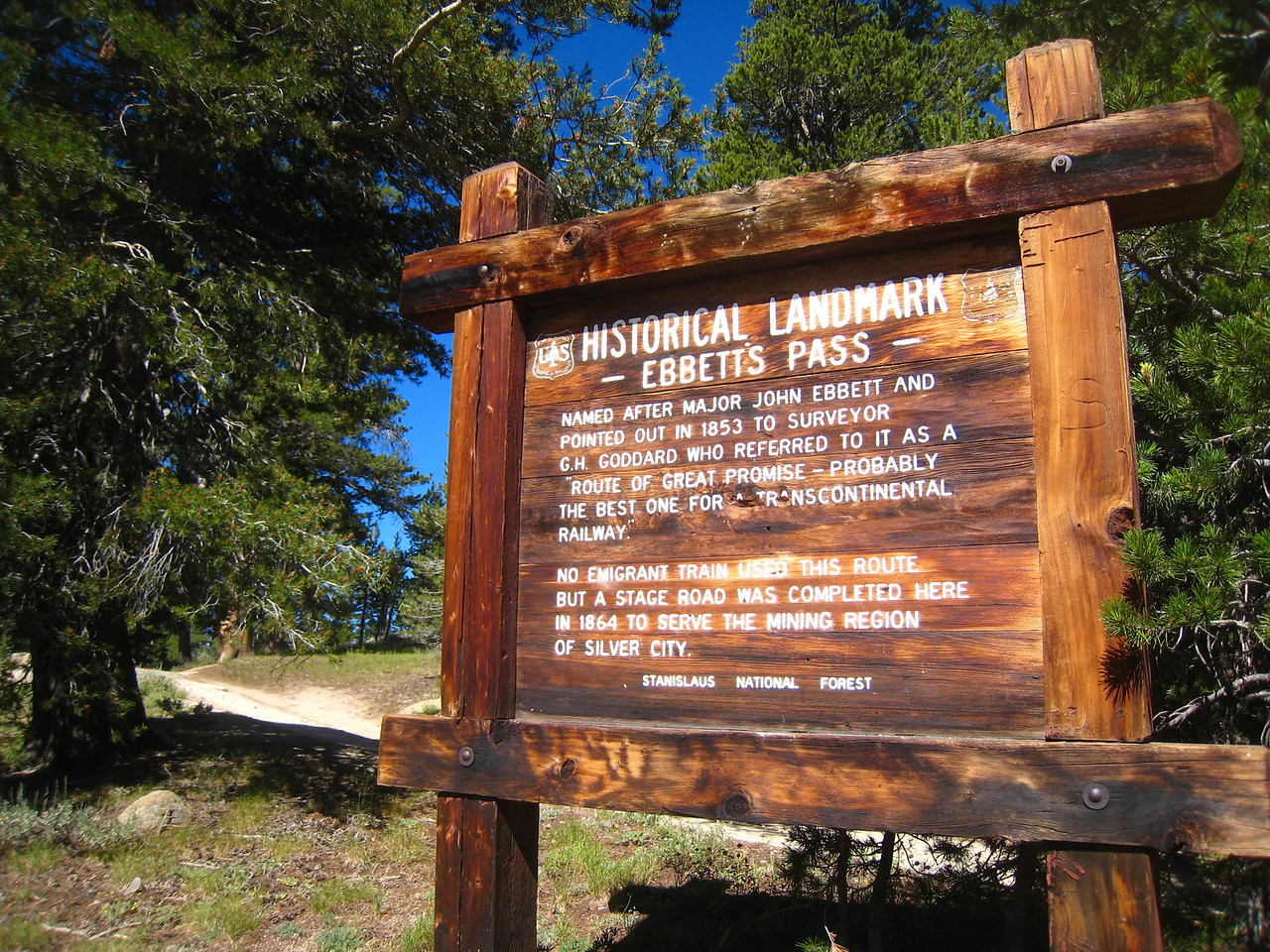 Leaving Markleeville, we head over Ebbett's pass.  This sign is posted at the summit.