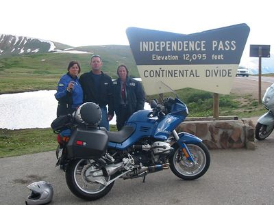 """From Glenwood Springs, I headed south to Carbondale, and then over McClure Pass and down into the town of Paonia.  Some of the group arrive the day before, and take a more scenic route over Independence Pass.   Deb, Dean, and Liz posing for the obligatory """"I was there"""" photo."""