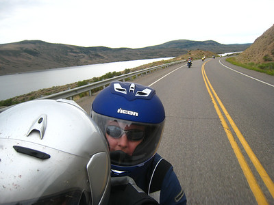 "Riding along Blue Mesa Reservoir, we are now headed towards Lake City.  As we approach the town, we have to pass a few cars.  Apparently one of them called into town, as we are met by the local sherrif.  He gives us a good talking to, at one point notifying me that I seem to be a ""type A personality.""  He lets us off after a good lecture.  We dutifully slow things down a bit on the way back."