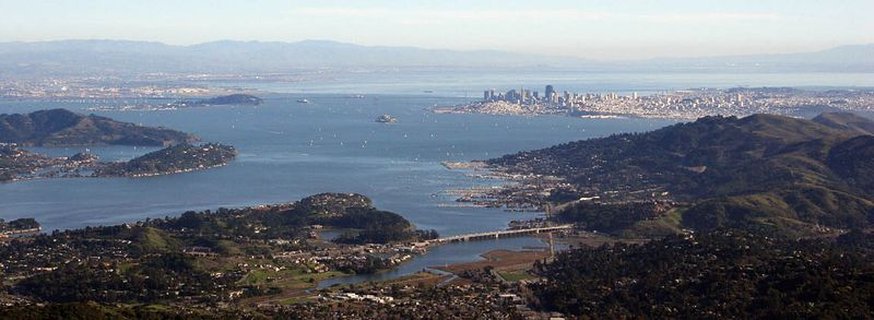 A panoramic view. You can make out Angel Island, Alcatraz the Bay Bridge and, of couse, SF.
