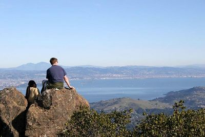 The view facing in a more easterly direction. Mt. Diablo is the peak to the left of this guy's head.