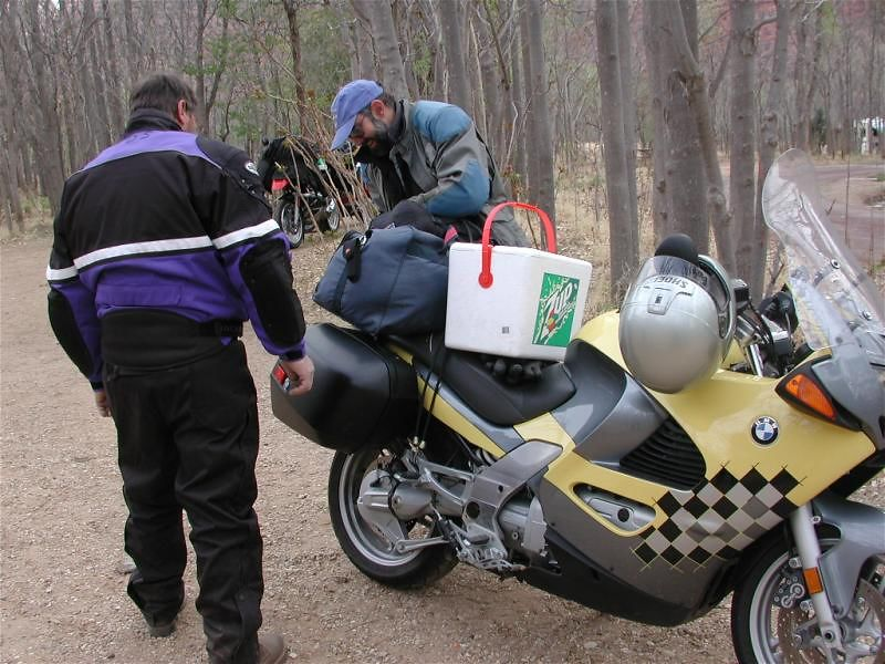 Ed refused to leave beer behind, so he strapped the cooler to his bike and took it to his next campsite - 200 miles away!