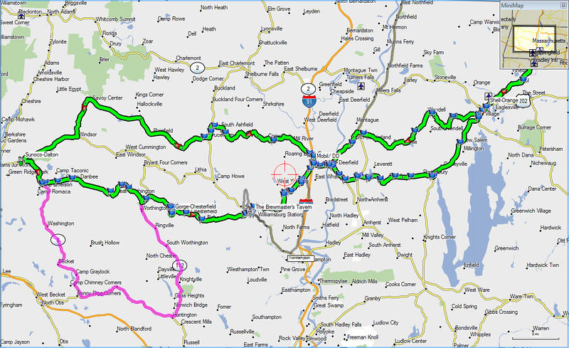 Western Mass. ride route