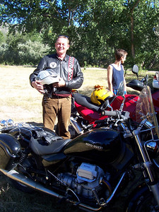 A happy Ronald upon return from his first motorcycle ride in New Mexico.