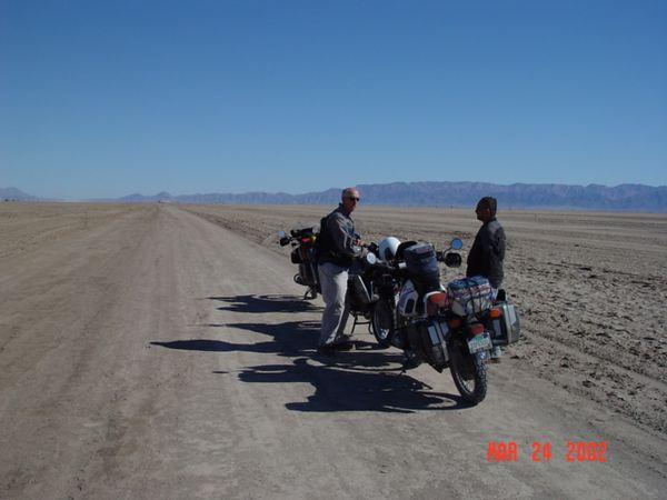 Road across Dry Lake