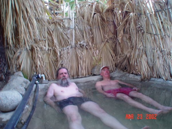 Dave and Tom soaking in the hot springs