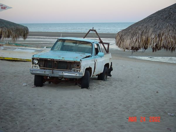Truck used to haul boats onto beach