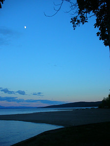 Moon over Lake Champlain from campsite.