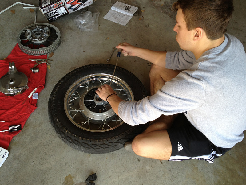 Preping the wheel