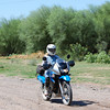 Becktastic headed for the Santa Cruz River crossing, on her new KLR 650.