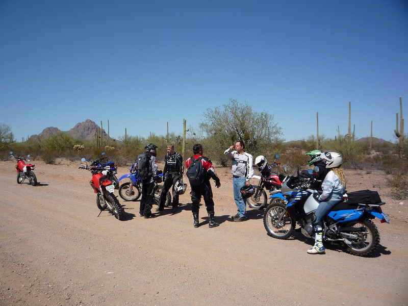 Silverbell Road. <br /> <br /> We are off to another great start, through the beautiful Sonoran Desert. Or, could this be Go Time in the desert? It looks like a fight is about to break out! My money is on the fat dude in the red jacket. He knows some serious MMA moves. :)<br /> <br /> We have a good mix of bikes on this ride, and as usual for an ADV ride, great people.
