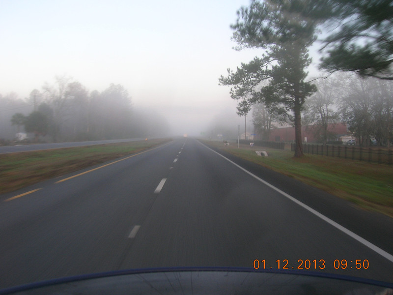 Jan 12 ride to Eastman and Priscilla's resturant.  Was a foggy morning getting outa Jax.
